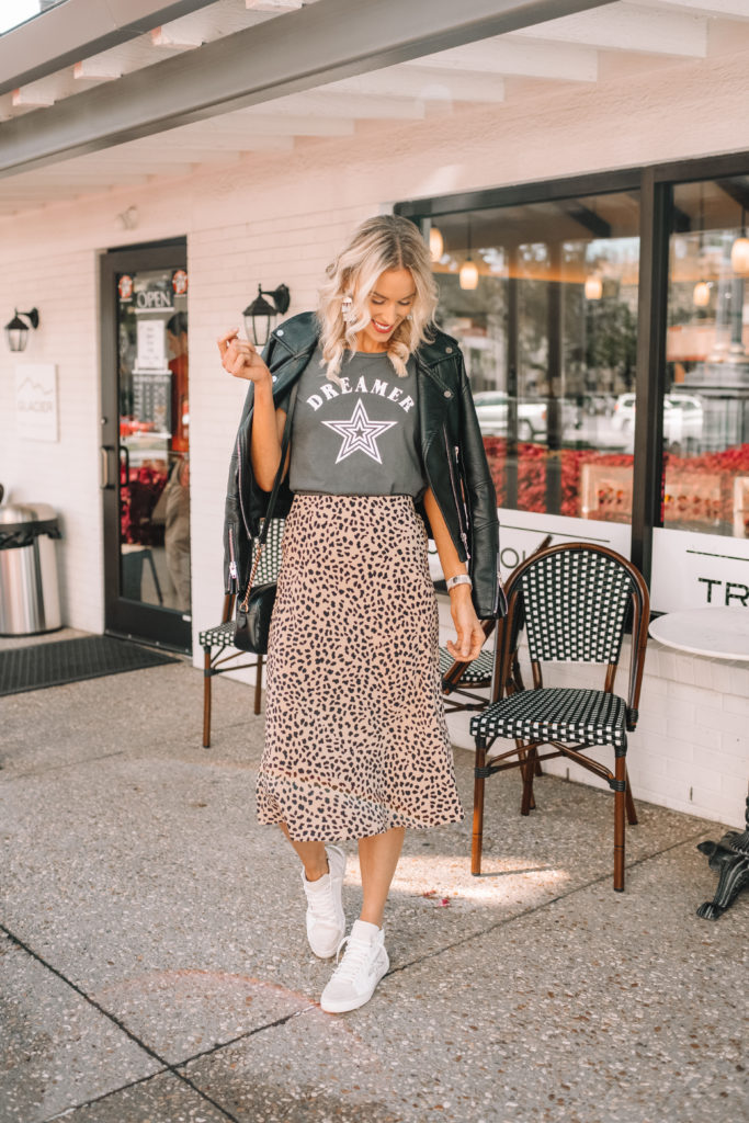 how to style a midi skirt, casual midi skirt styling, leopard midi skirt with graphic tee