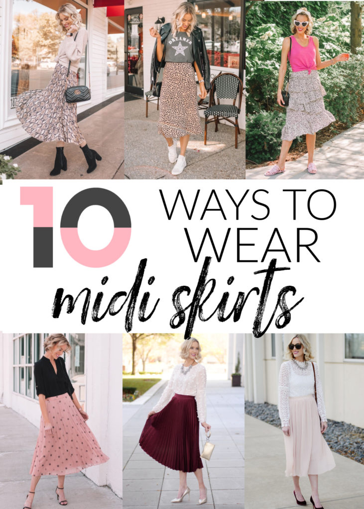 How to Wear a Midi Skirt - 10 Ways to Wear a Midi Skirt, blog post all about how to style midi skirts, midi skirt outfit, midi skirt summer outfit, midi skirt fall outfit, midi skirt winter outfit, midi skirt spring outfit, midi skirt and boots, midi skirt and heels, midi skirt and sandals, midi skirt and sweater