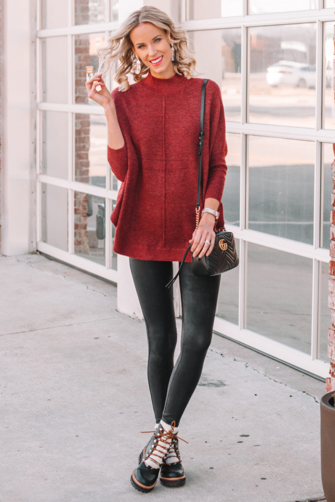 casual Thanksgiving outfit idea, leggings and poncho outfit, casual fall outfit, leggings fall outfit