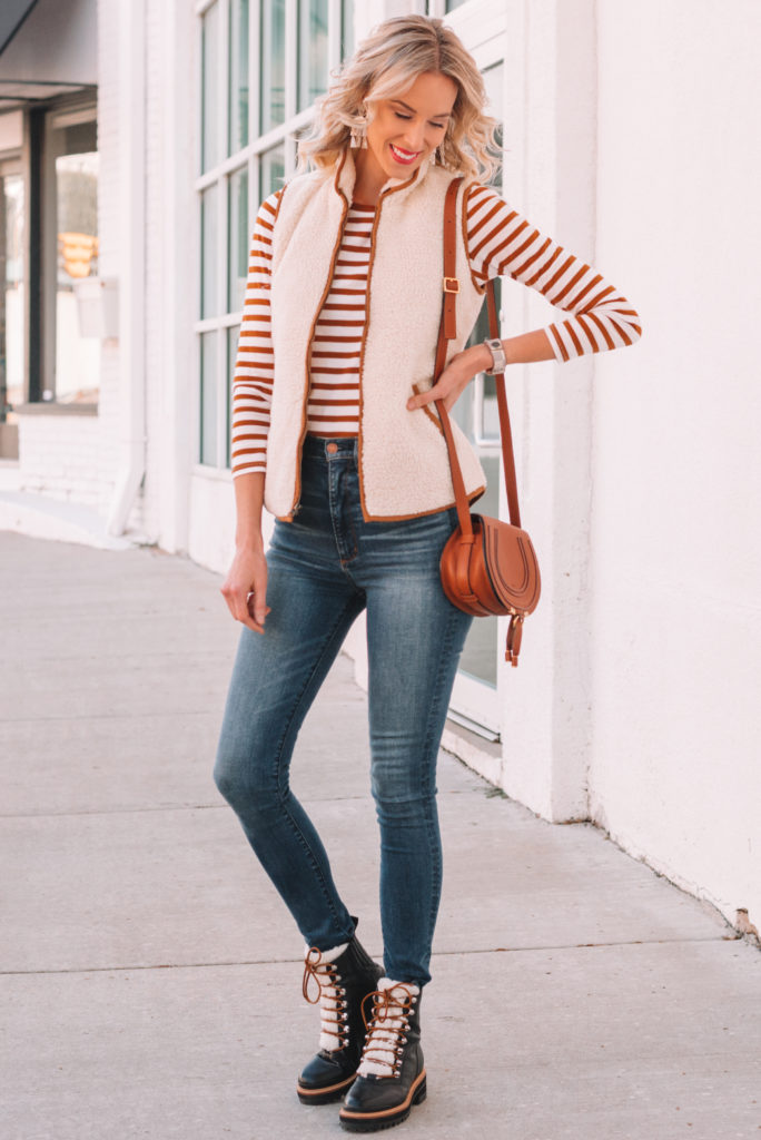 affordable sherpa vest, striped long sleeve t-shirt, skinny jeans