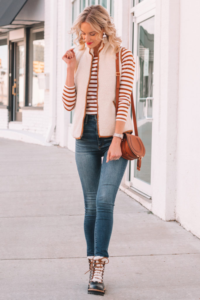 classic fall outfit, fall layers, hiker boot, how to wear hiker boots