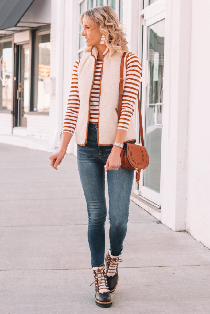 sherpa vest outfit ideas, striped t-shirt, casual fall outfit idea