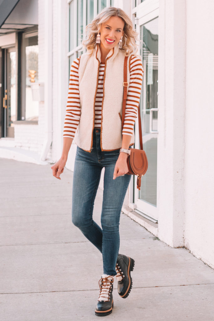 affordable sherpa vest, fall layers, cute fall outfit idea