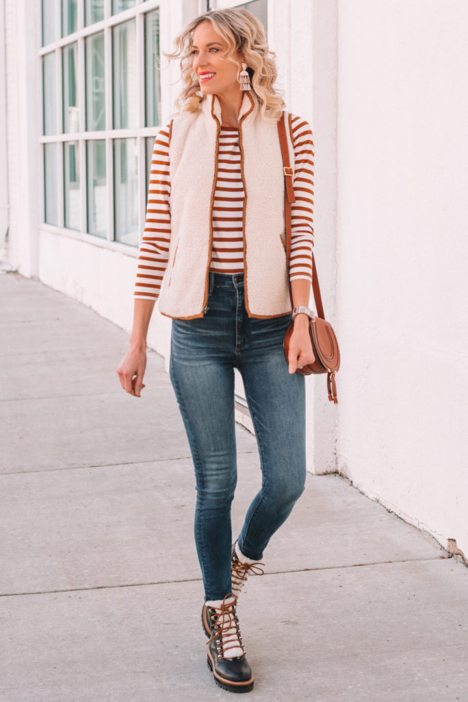 how to style hiker boots this fall, skinny jeans outfit, striped long sleeve shirt
