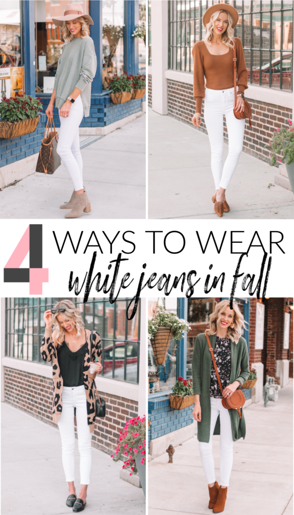 4 Ways to Wear White Jeans this Fall, how to wear white jeans, how to wear white jeans in fall, white jeans outfits, fall white jeans outfits, white jeans #whitejeans #whitejeansoutfits