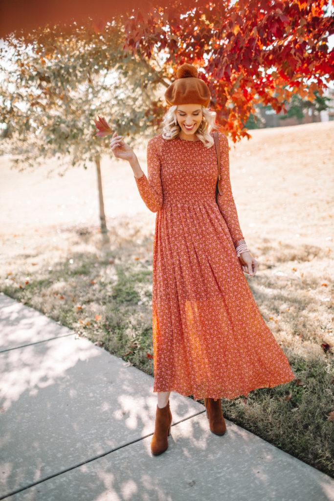 gorgeous fall dress, sheer overlay dress, pom pom beret
