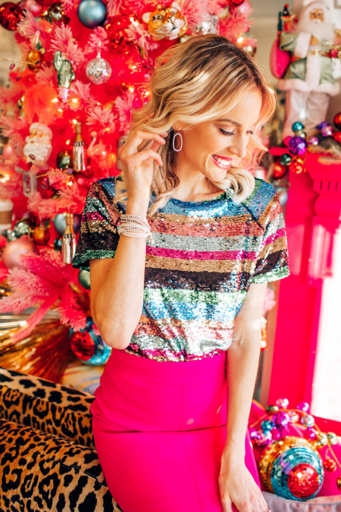 striped sequin top, pink mini skirt, pink holiday party outfit