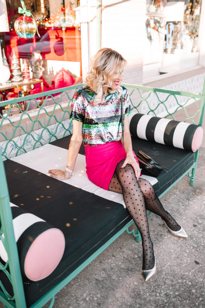 sequin top and mini skirt with polka dot tights and gold heels, dressy holiday part outfit, how to style a sequin top