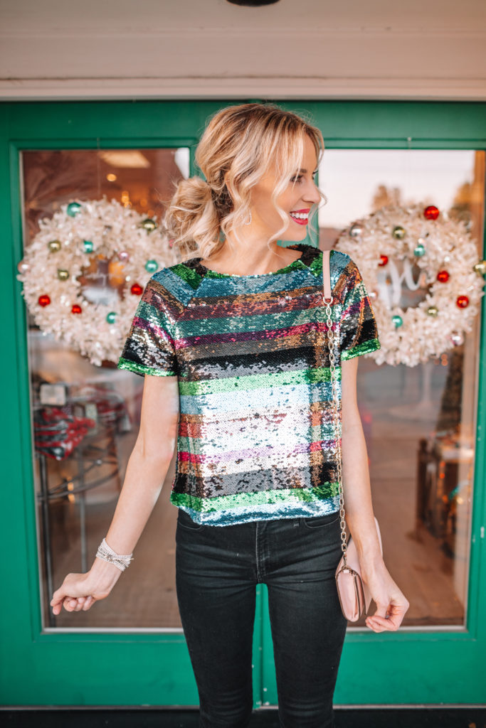 how to style a sequin top for a holiday party