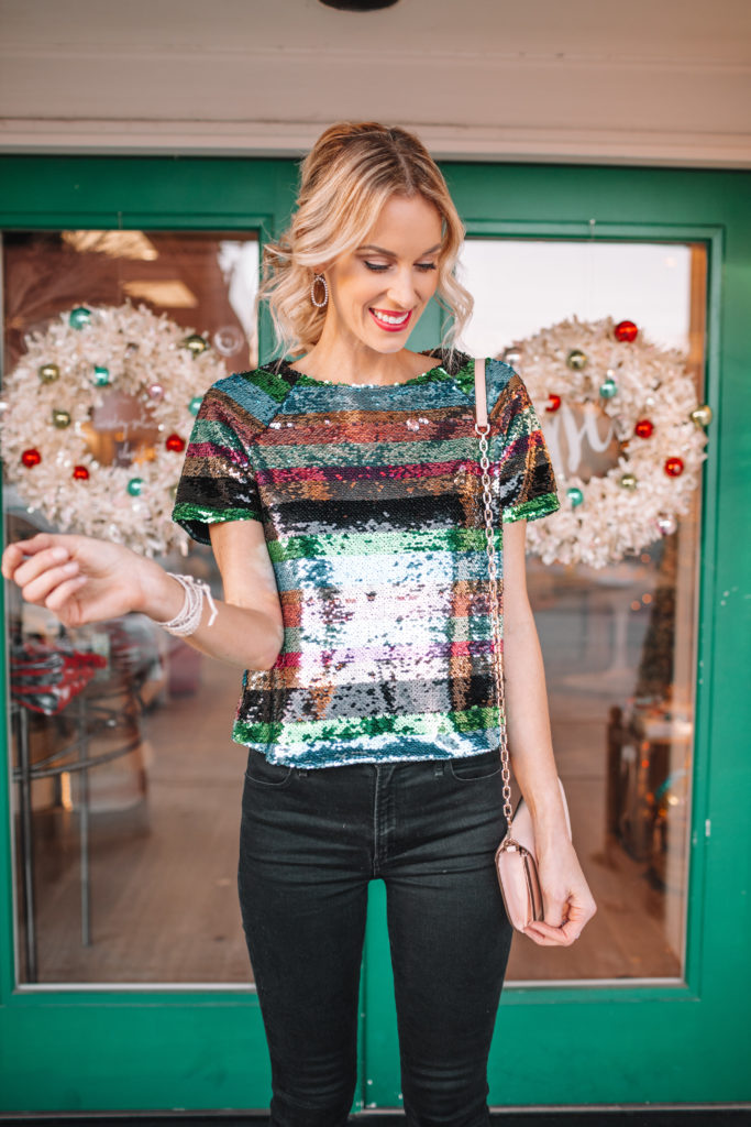how to wear sequins casually, fun holiday party outfit