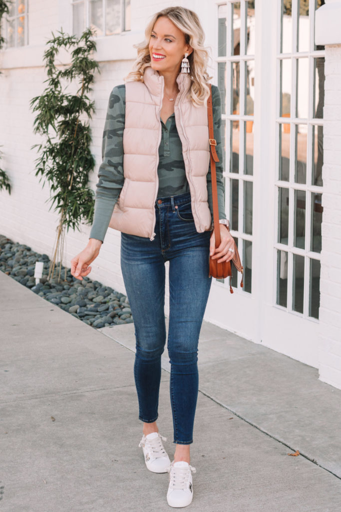 camo thermal top and puffer vest, casual fall outfit