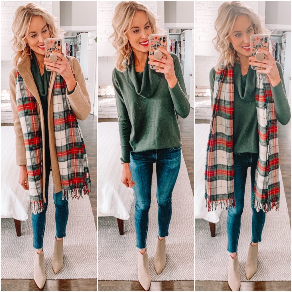 turtleneck tunic sweater styled with a scarf for the holiday