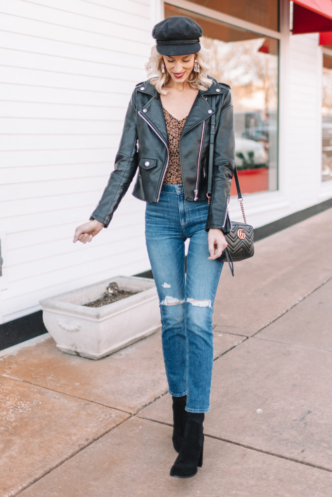 straight leg jean outfit ideas, how to wear straight leg jeans, leopard top