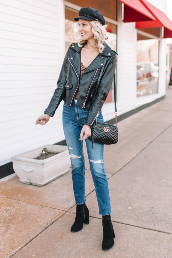 jeans, sock booties, leaoprd top