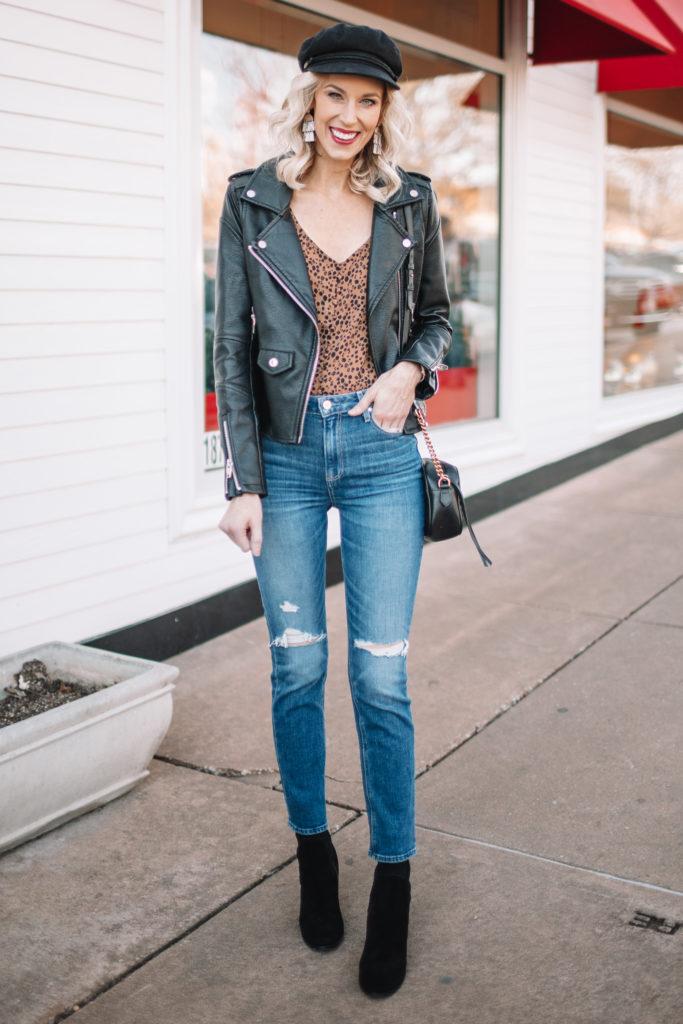 straight leg jeans, leopard top, black faux leather jacket