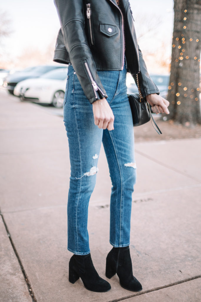 how to wear sock boots with jeans, sock booties and jeans, how to wear sock booties with straight leg jeans
