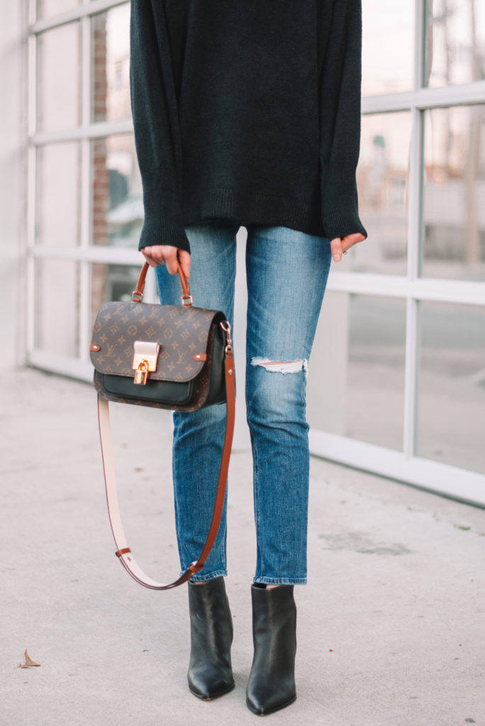 blog post all about how to wear ankle boots with straight leg jeans including multiple examples, dos and don't, easy styling tips, and close up photos #ankleboots #anklebooties #boots #bootiees #straightlegjeans #straightjeans #croppedjeans