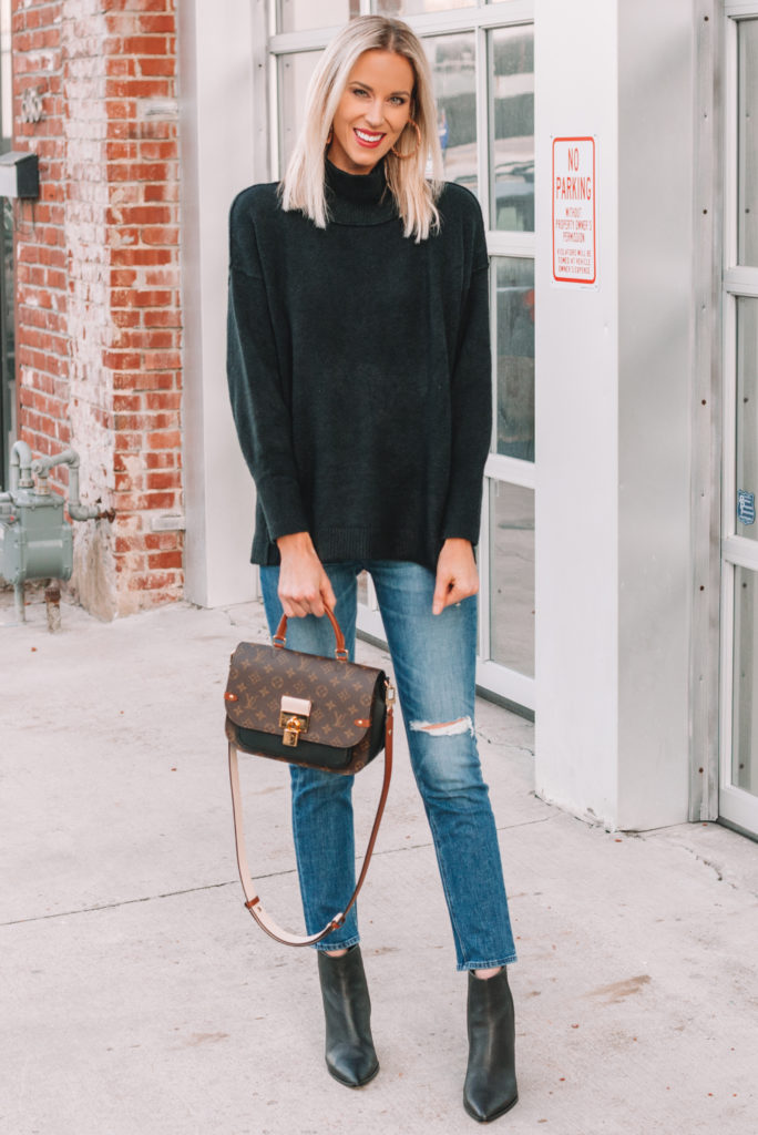 ankle boots with straight leg jeans, black tunic sweater