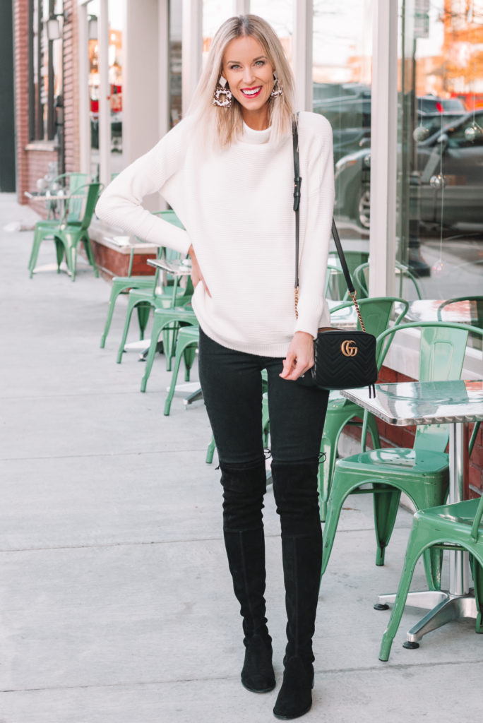 first trimester outfit ideas, chunk sweater and jeans