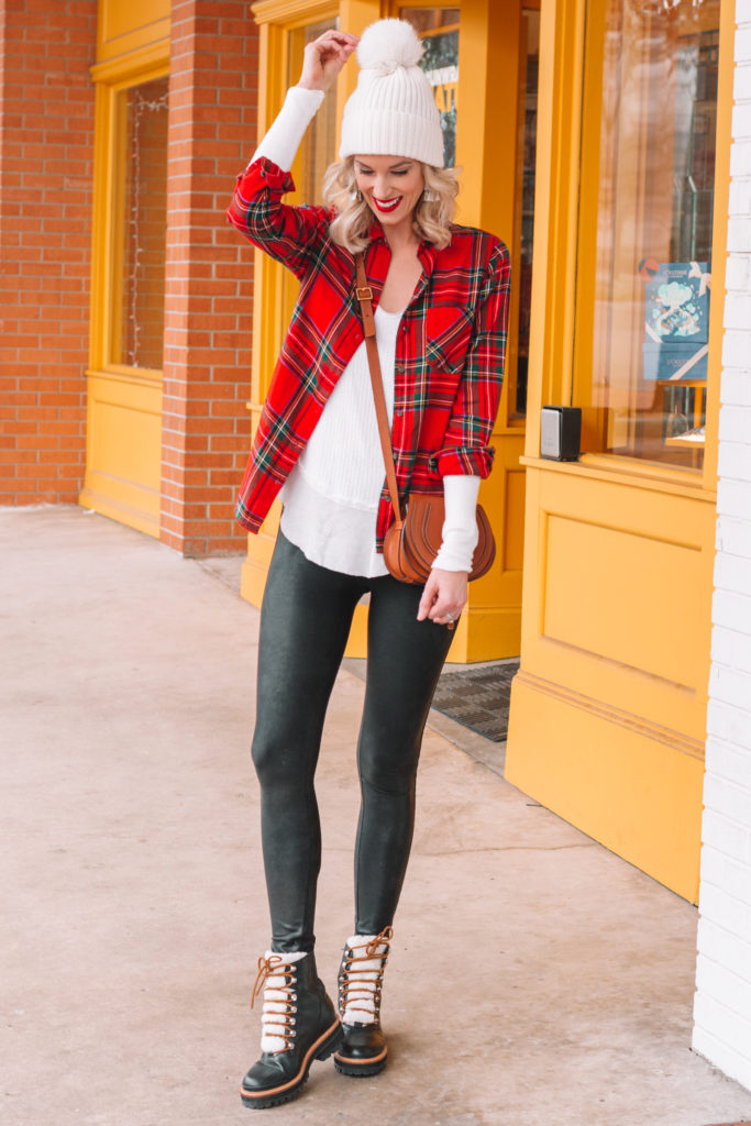 how to wear leather leggings, what to wear with leather leggings, casual leather leggings outfit, flannel and leggings