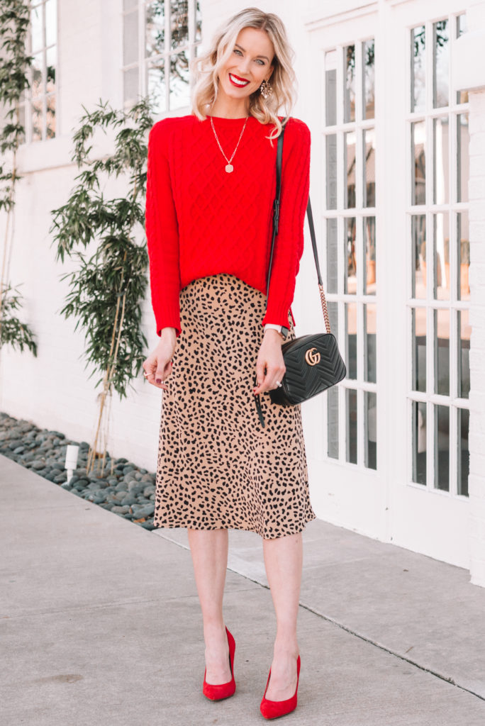 red and leopard pairing for the holidays, how to dress up a sweater, how to wear a sweater with a midi skirt