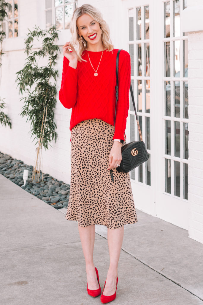 red sweater with leopard midi skirt and red heels, how to wear a red sweater