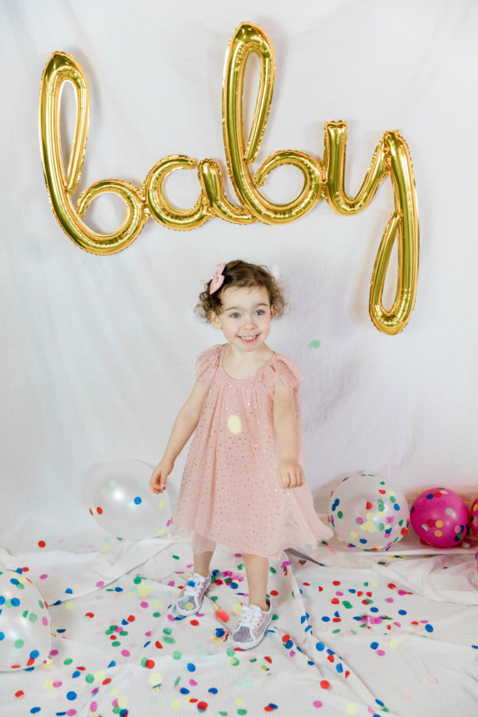 baby balloon, confetti, balloons