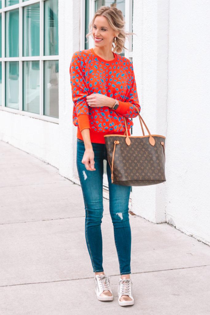 fun colored leopard sweatshirt