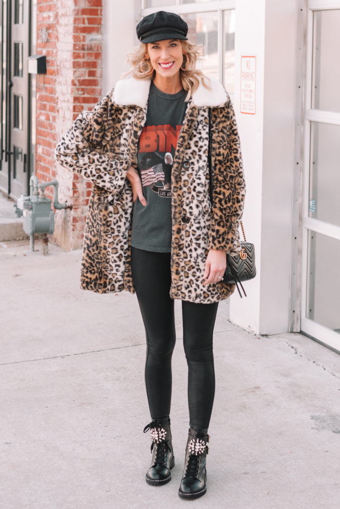 faux fur leopard coat, leather leggings, combat boots
