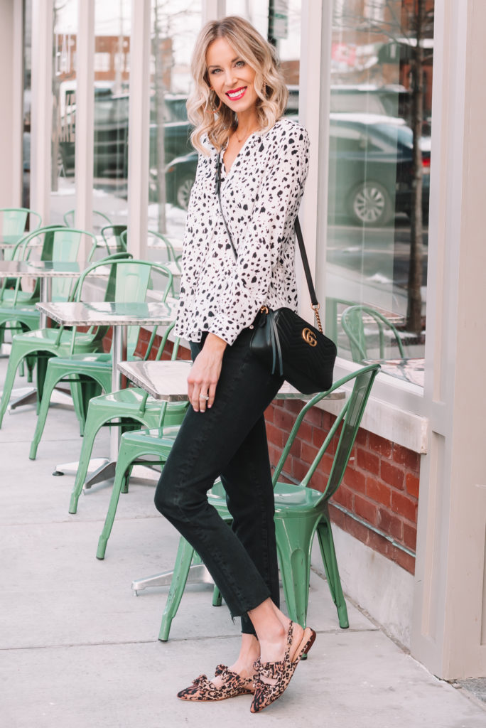 leopard bow flats, black straight leg jeans, white blouse