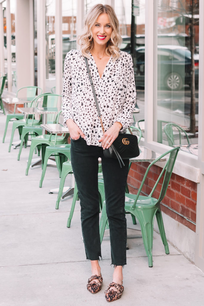 first trimester outfit ideas, flowy blouse and jeans