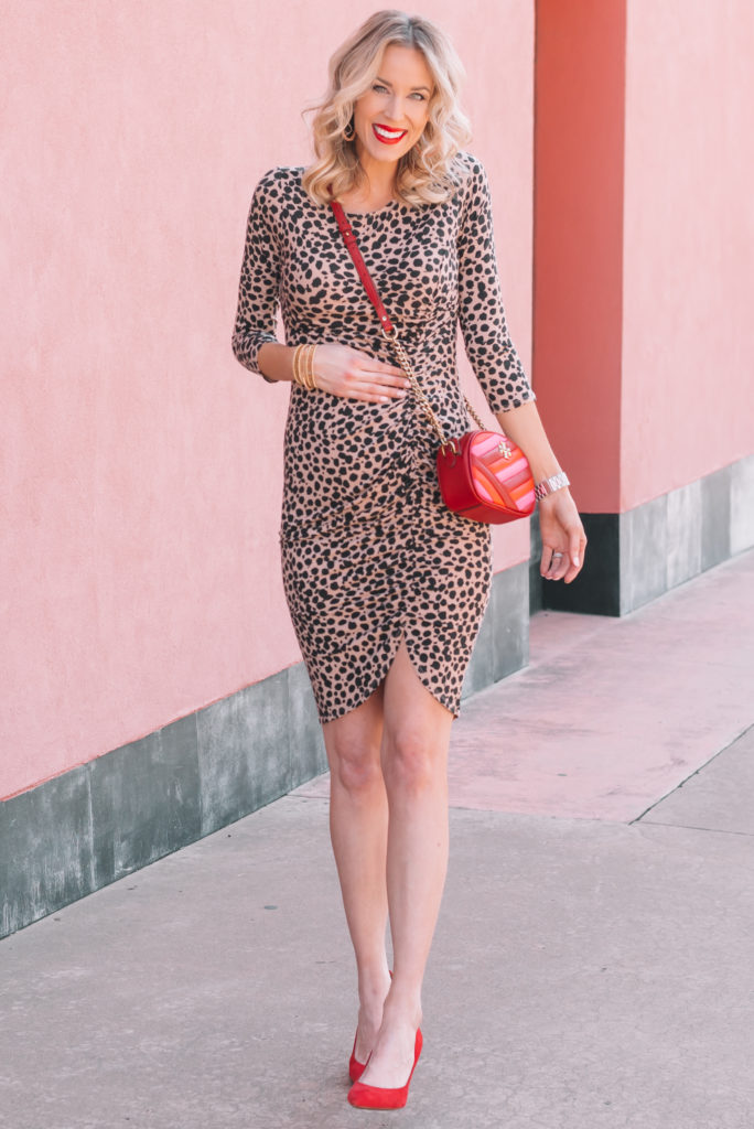 cute ruched leopard dress and red heels