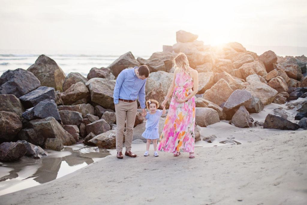 rocks and beach sunset, family beach photos, maternity beach photos