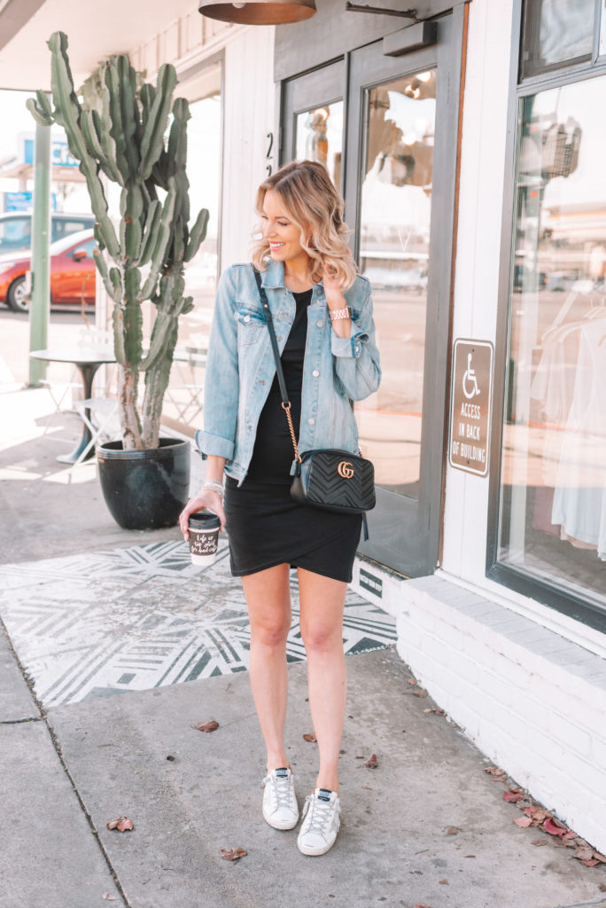 ruched dress styled casually