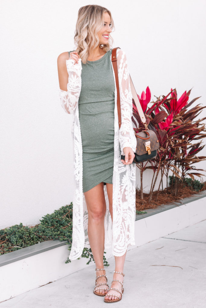 ruched dress with kimono