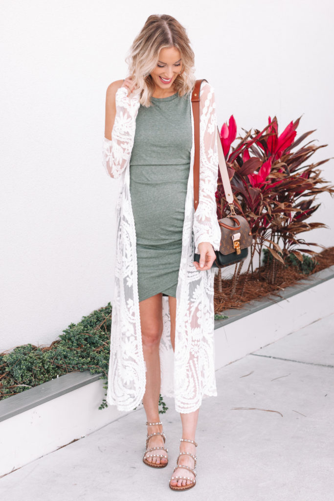 ruched dress with sandals