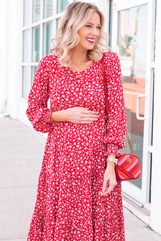 red floral maternity dress, gift ideas for mothers day
