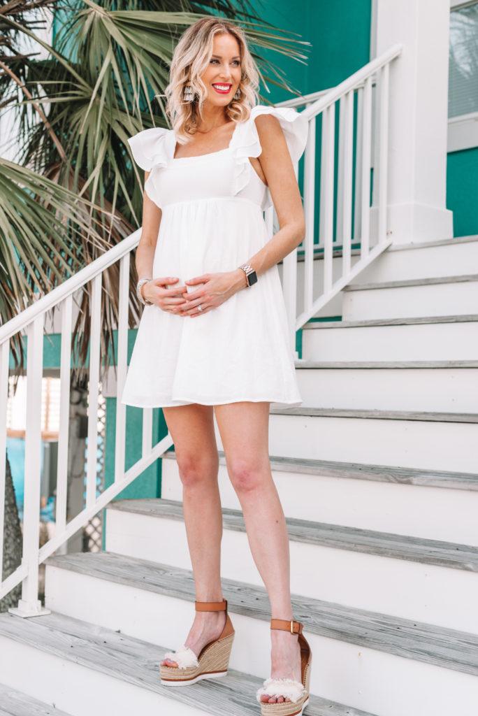 white flutter sleeve mini dress, short white dress, little white dress