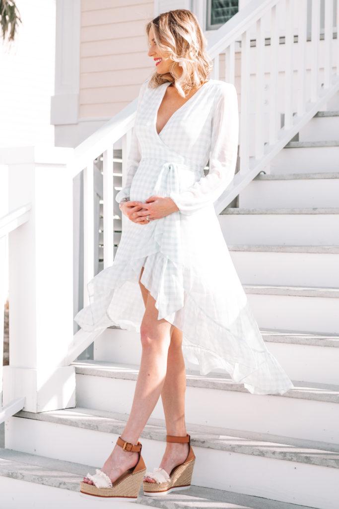 blue and white gingham wrap dress, gorgeous wrap dress, flattering dress