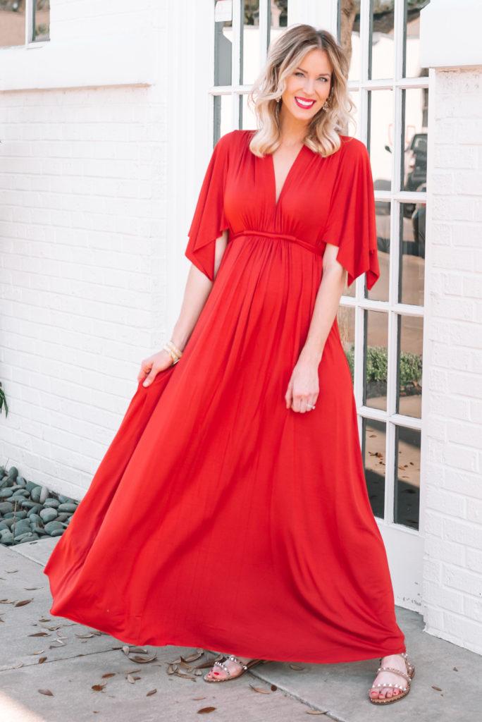best maternity dress for photoshoot or baby shower, redish orange maternity dress