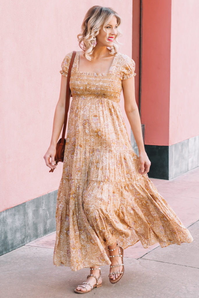 smocked flowy floral maxi dress, non-maternity dress worn for maternity
