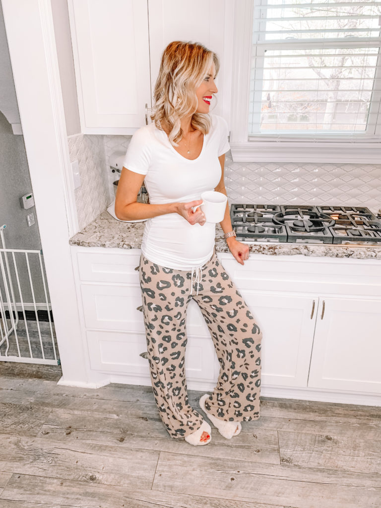cozy stay at home outfits, leopard lounge pants, cozy outfit ideas