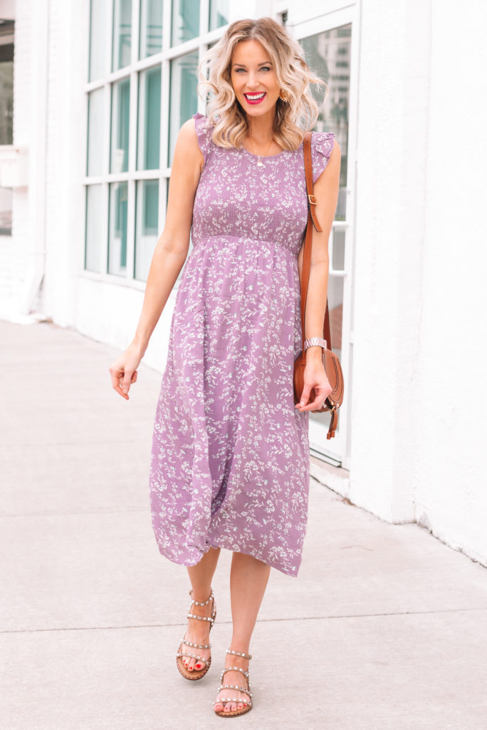 pretty maternity floral sleeveless dress