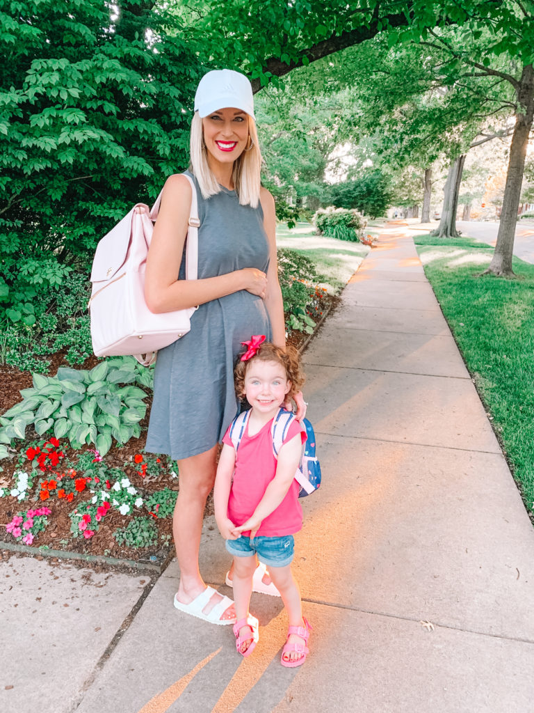 I love this $15 swing dress for easy maternity wear. Add a ball cap and sneakers or Birkenstocks to keep it extra comfy!