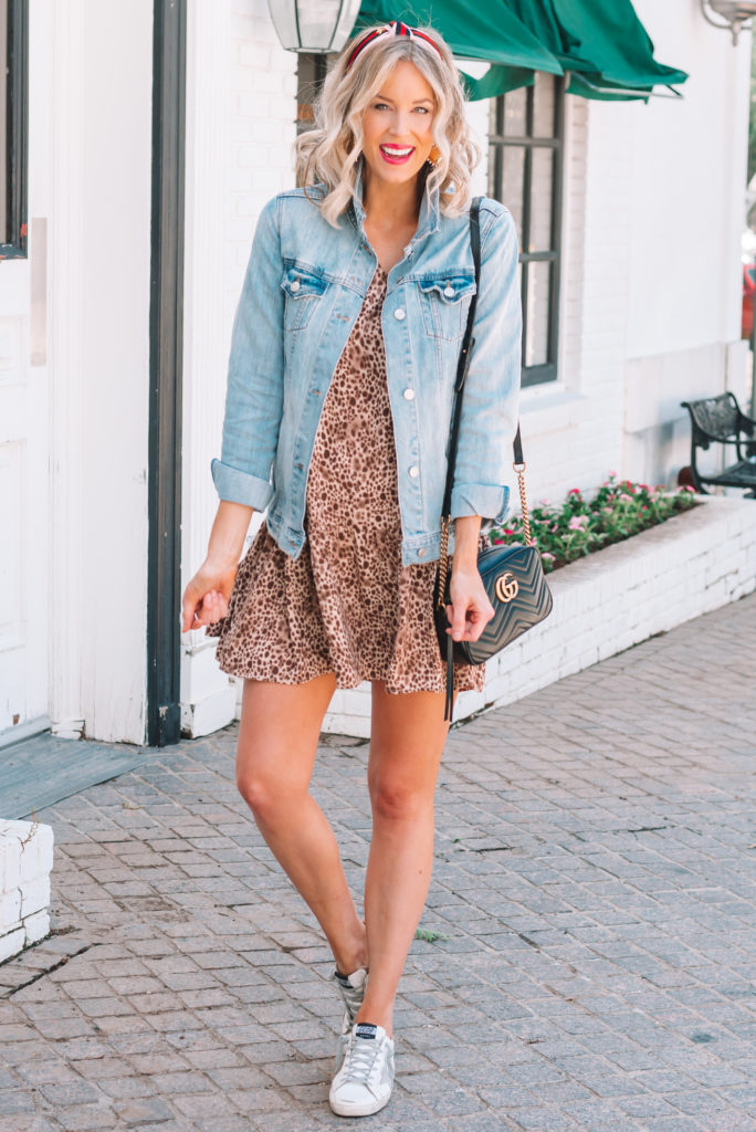 This leopard drop waist dress is only $20 and washes so well. The perfect non-shorts summer outfit idea.