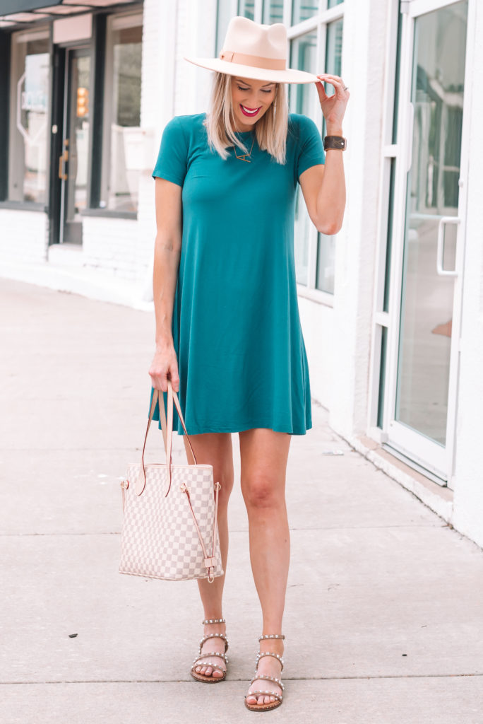 I'm in love with the emerald color of this jersey swing dress not to mention the comfort! It's under $20 and available in multiple colors.
