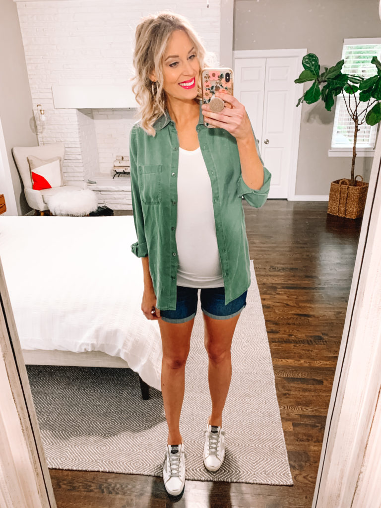 I love pairing my utility shirt with a t-shirt underneath and a cute pair of denim shorts. Easy summer outfit - done!