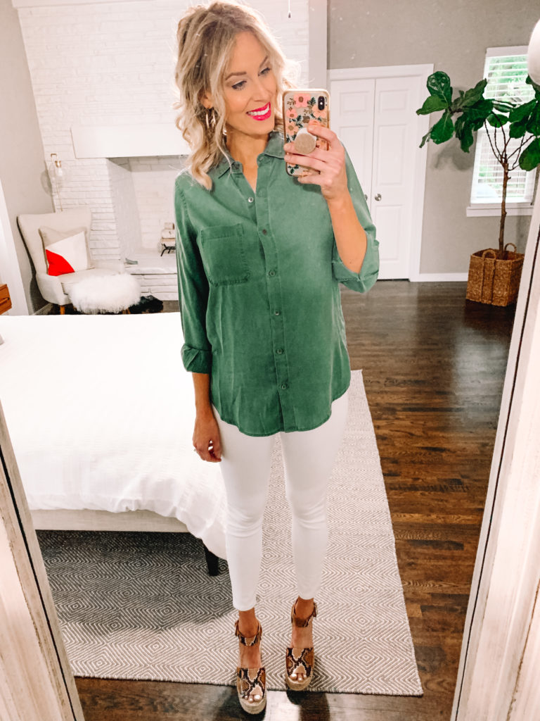 When considering how to style a button up shirt, pairing it with a dress is a no-brainer! Whether you style it open or buttoned up and tied, each look is equally as awesome.