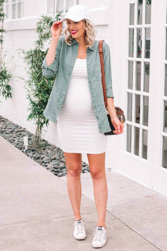 Cute maternity outfits are my jam, and I love this white fitted dress for so many ways to style it.