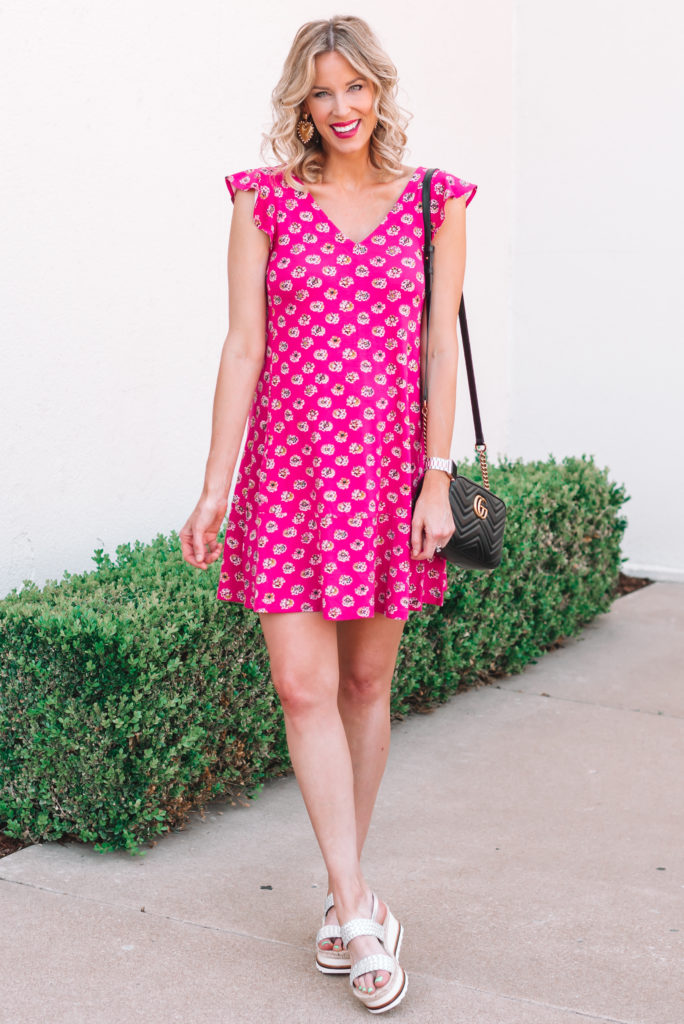 This pink swing dress is the perfect summer maternity piece that will also work for postpartum.